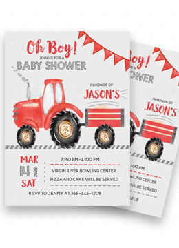 Red Tractor Baby Shower Invitations