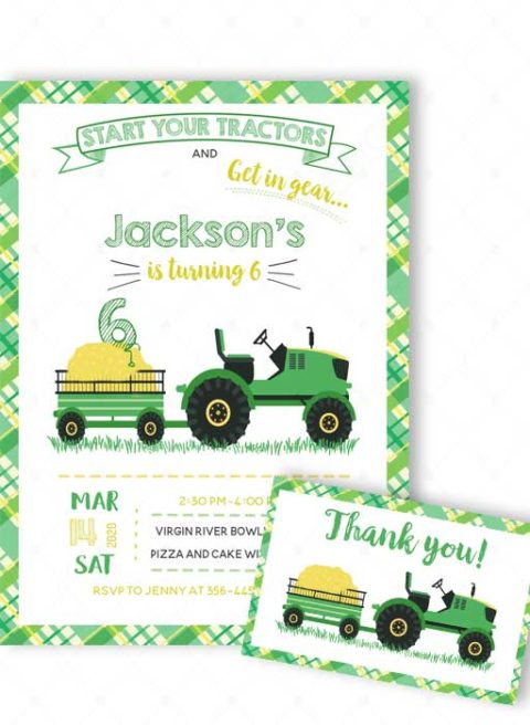 Tractor Party Invitation Template