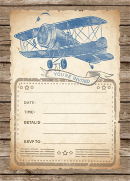 Vintage Airplane Baby Shower Fill-In Invitations