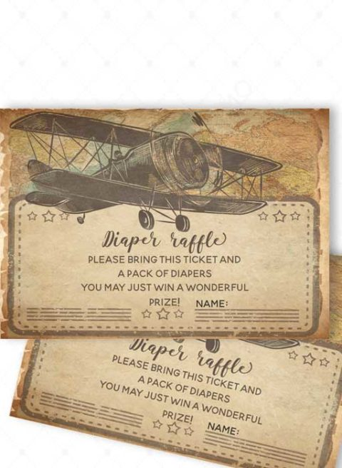 Vintage Airplane Baby Shower Invitations