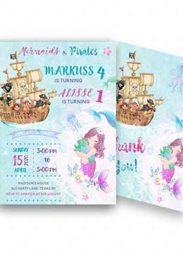 Pirates and Mermaids Party Invitations