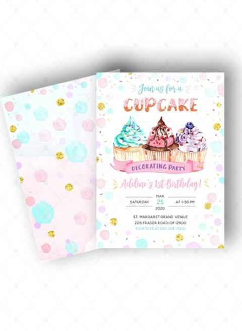 Polka Dot 1st Birthday Invitations