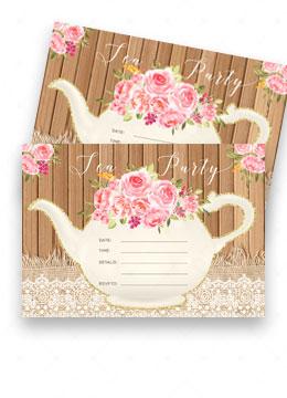 Printable Blank Tea Party Invitations