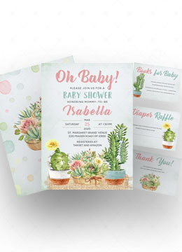 Cactus Baby Shower Invitations