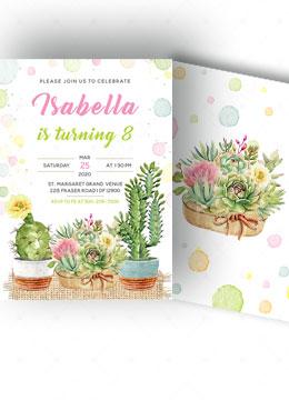Cactus Birthday Invitation