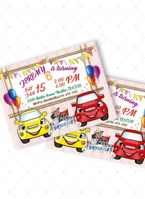 Drive In Movie Birthday Party Invitations