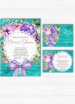 Purple Turquoise Wedding Invitations