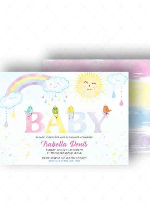 Rainbow Baby Invitations
