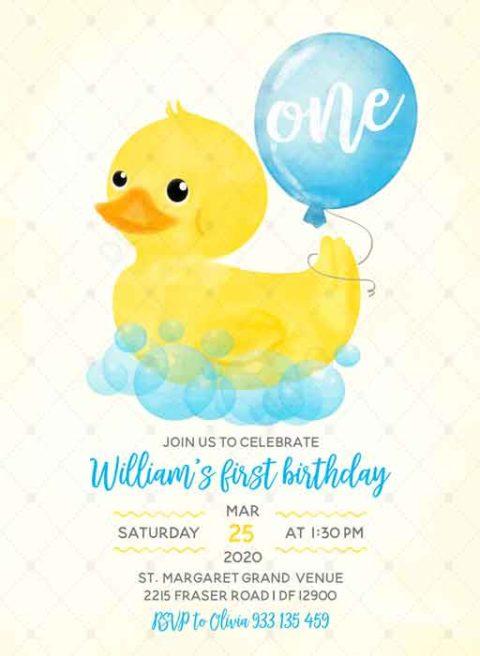 Rubber Duck Birthday Invitation
