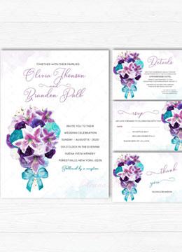 Turquoise and Purple Wedding Invitations