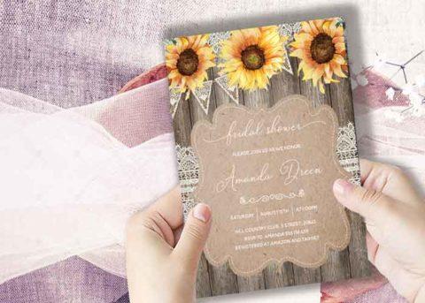 Sunflower Bridal Shower invitation template