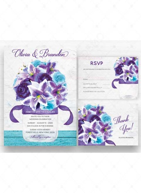 Personalized Purple And Turquoise Wedding Cards