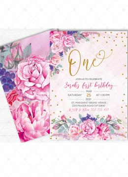 Rose Gold 1st Birthday Invitation Template