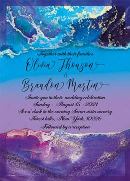Purple and Blue wedding invitation