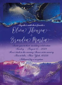 Purple and Royal Blue Wedding invitation template