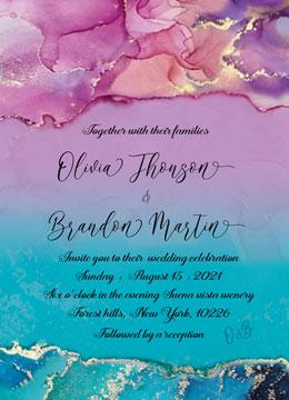 Purple and Turquoise Wedding invitations templates
