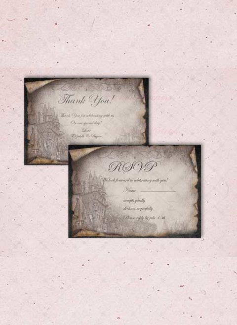 Vintage Black and White wedding invitations