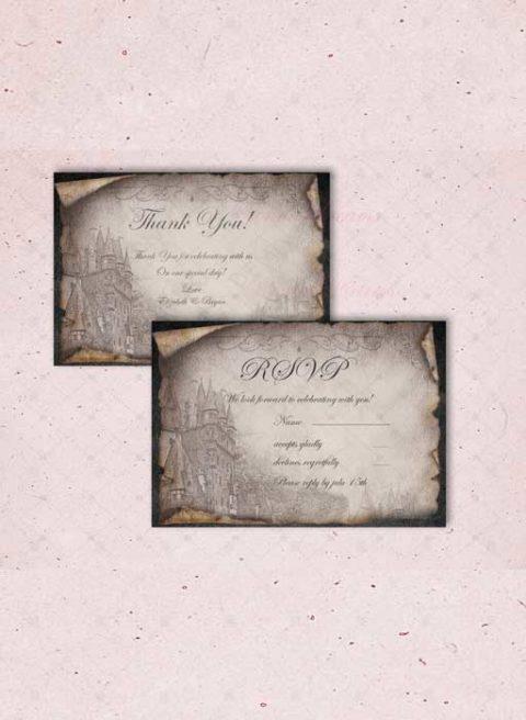 Vintage Black and White wedding invitations