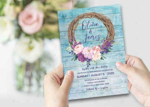 Wedding invitations turquoise and purple