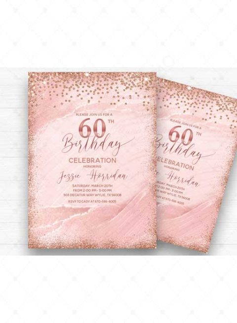 60th Birthday Invitation Rose Gold