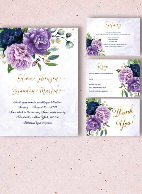 Purple  Royal Blue Gold Wedding invitation