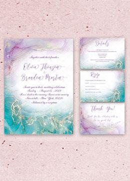 Purple Turquoise Wedding Invitations check