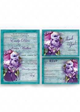 Purple and Turquoise Wedding invitations ideas