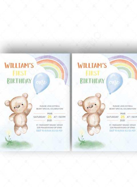Teddy 1st Birthday Invitation Printable