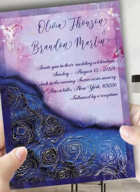 Wedding Invitation template royal blue