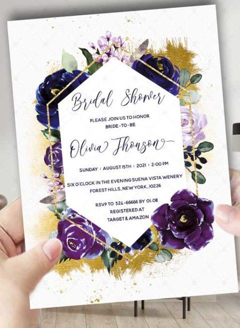 Bridal Shower invitations navy blue
