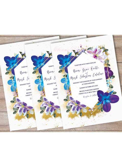 Blue Orchid Wedding Invitations