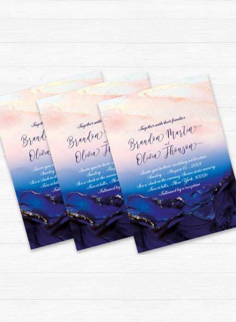 Blush Pink And Navy Blue Wedding Invitations