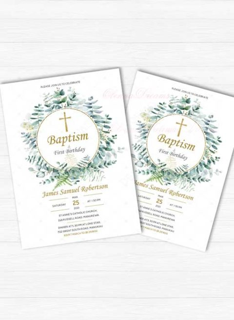 FIRST BIRTHDAY AND BAPTISM INVITATION