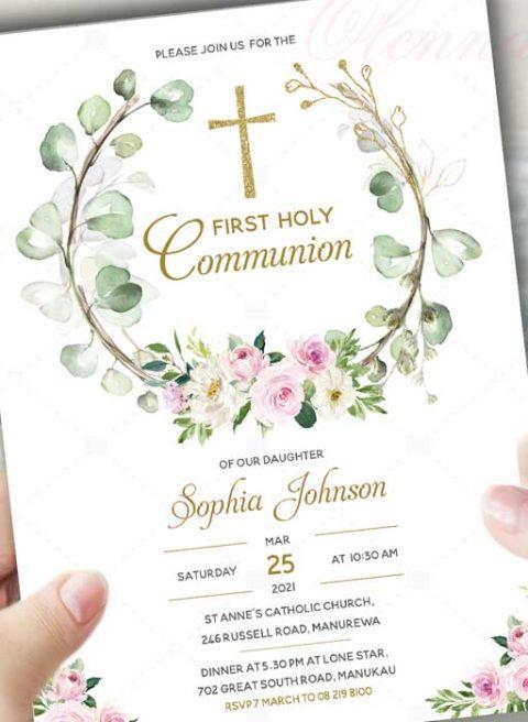 Blush pink gold greenery First Holy Communion invitation