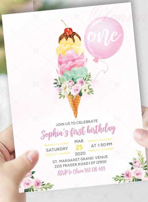 Ice Cream 1st Birthday Party Invitation
