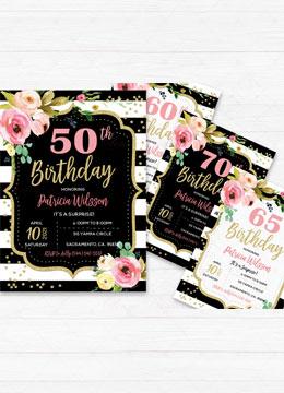 Pink Black and White Birthday Invitations