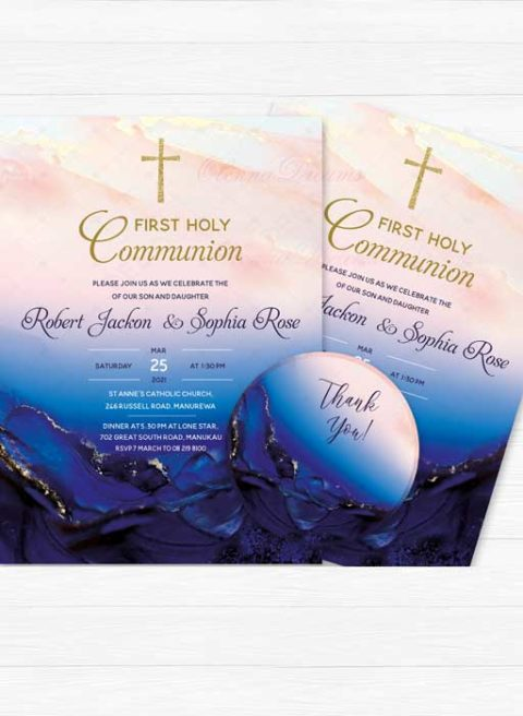 Pink and Blue First Holy Communion Invitation