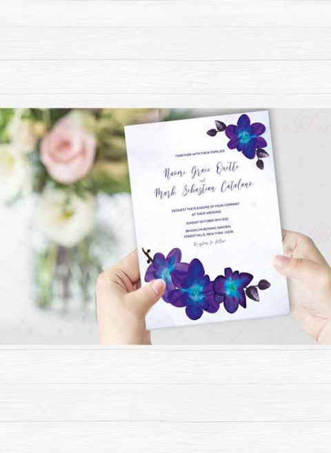 Purple Turquoise Blue Orchid Wedding Invitation