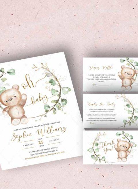 Teddy Bear Baby Shower Invitation Template