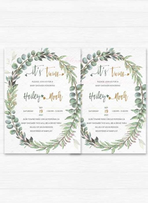 Twins Baby Shower Invitation Template