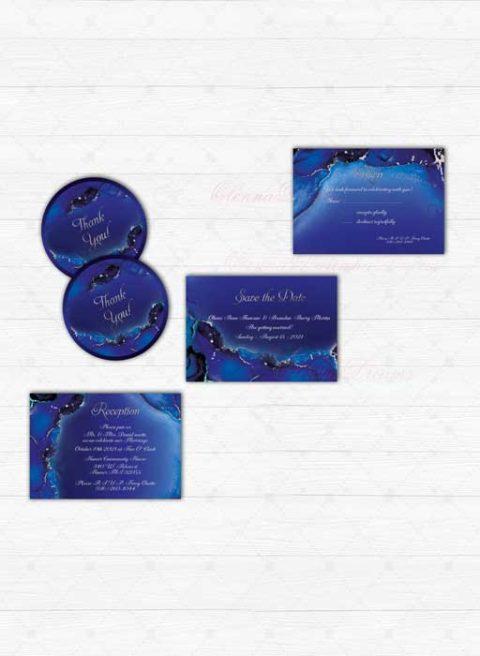 Royal Blue and Silver Wedding Invitation templates