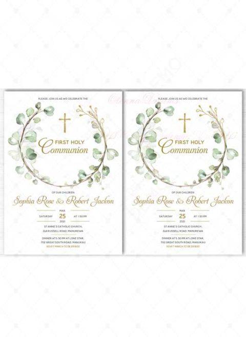 Twin communion invitations