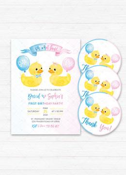1st Birthday Invitations For Twins Boy Girl