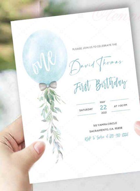 Baby Boy First Birthday Invitation