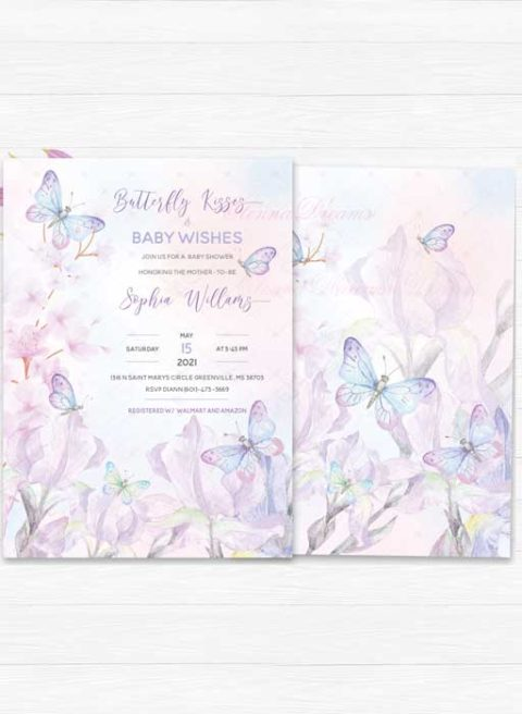 Baby Shower Invitations Purple Butterfly