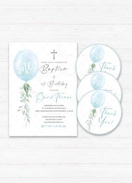 Baptism and First Birthday Invitation Boy Blue
