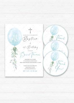 Baptism and First Birthday Invitation Boy Blue