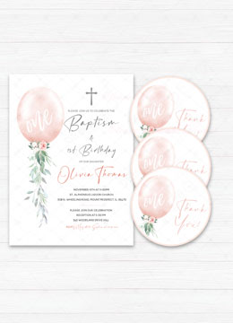 Baptism and First Birthday Invitation Girl Pink