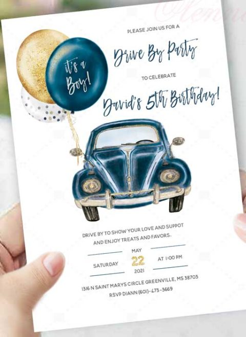 Boy Drive by Birthday Invitation Template