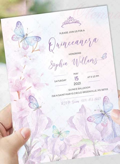 Butterfly Themed Quinceanera Invitations